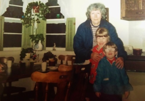 Grandma, me and my brother in the kitchen circa 1987.